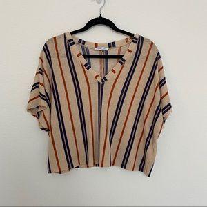 Zara Woman V-Neck Tan Orange Navy Vertical Stripes Crop Top Size M